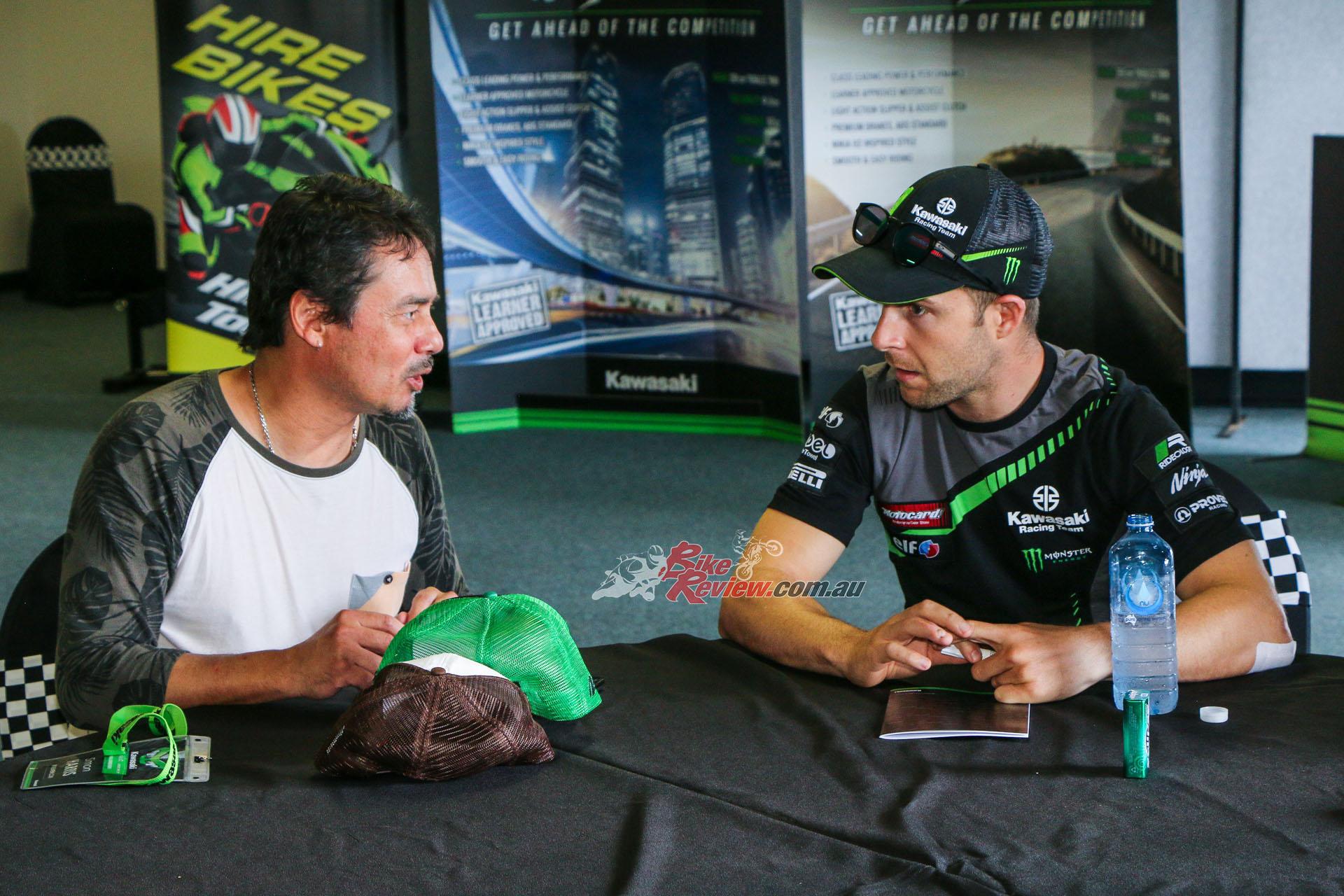 Simon Harris talks to WorldSBK Champion Jonathan Rea at the recent Ninja 400 launch