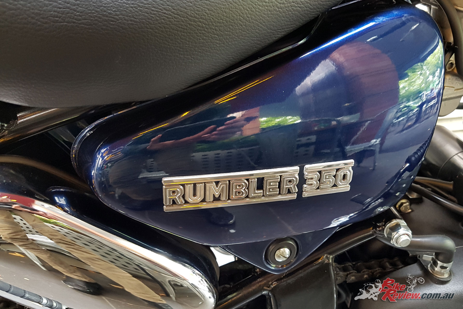 The Rumbler 350 stands out with high quality paint and plenty of chrome