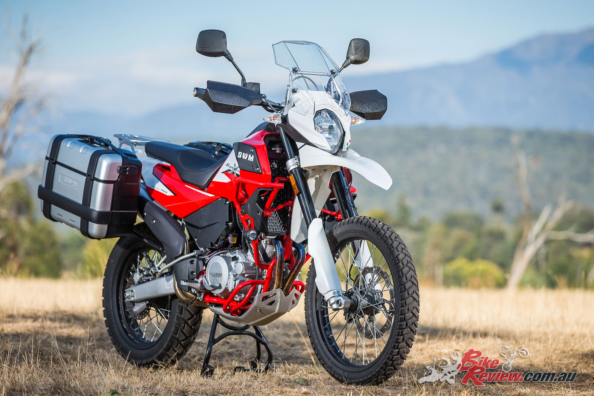 The SWM Superdual X offers a great value adventure option, with heaps of standard inclusions and as an introductory special the 'GT Kit' included free with the Givi panniers