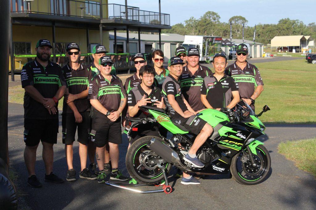 Kawasaki Motors Australia with (L to R) Test Rider Ken Tojo, Project Leader Kunihiro Tanaka, KMA MD Kenichi Hashiba.