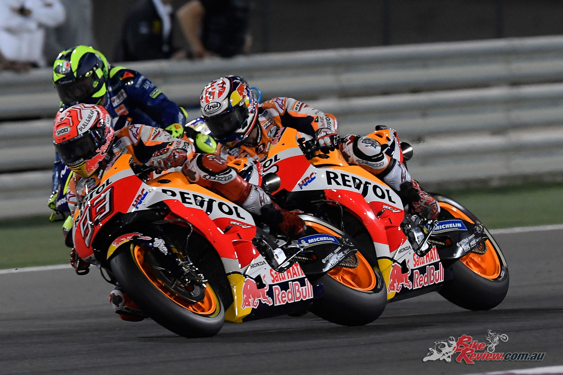 Marquez and Dovizioso battled it out, with Rossi closing the gap at the tail end of the race