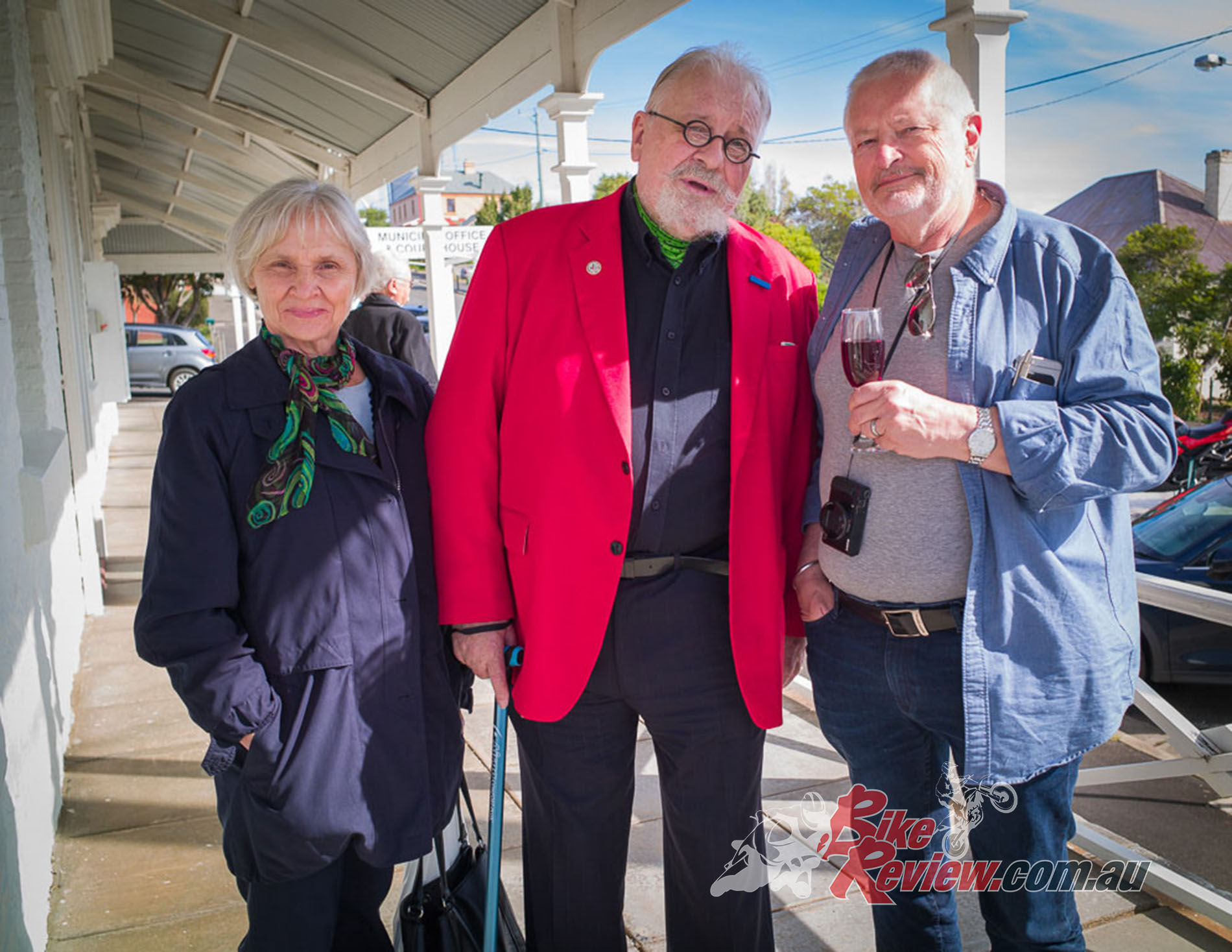 """Bertrand with his carer Josefina and Peter """"The Bear"""" Thoeming. The Bear is the one with the glass of red. Pic: Martin, Madhouse Photography"""