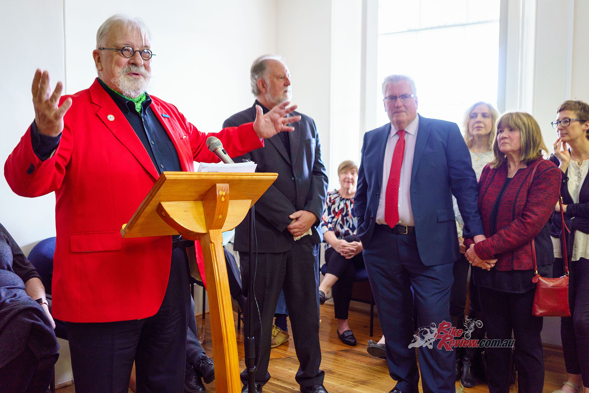 In his usual flamboyant style (and trademark brightly-coloured jacket) Bertrand farewells his adopted Tasmanian home. Pic: Martin, Madhouse Photography
