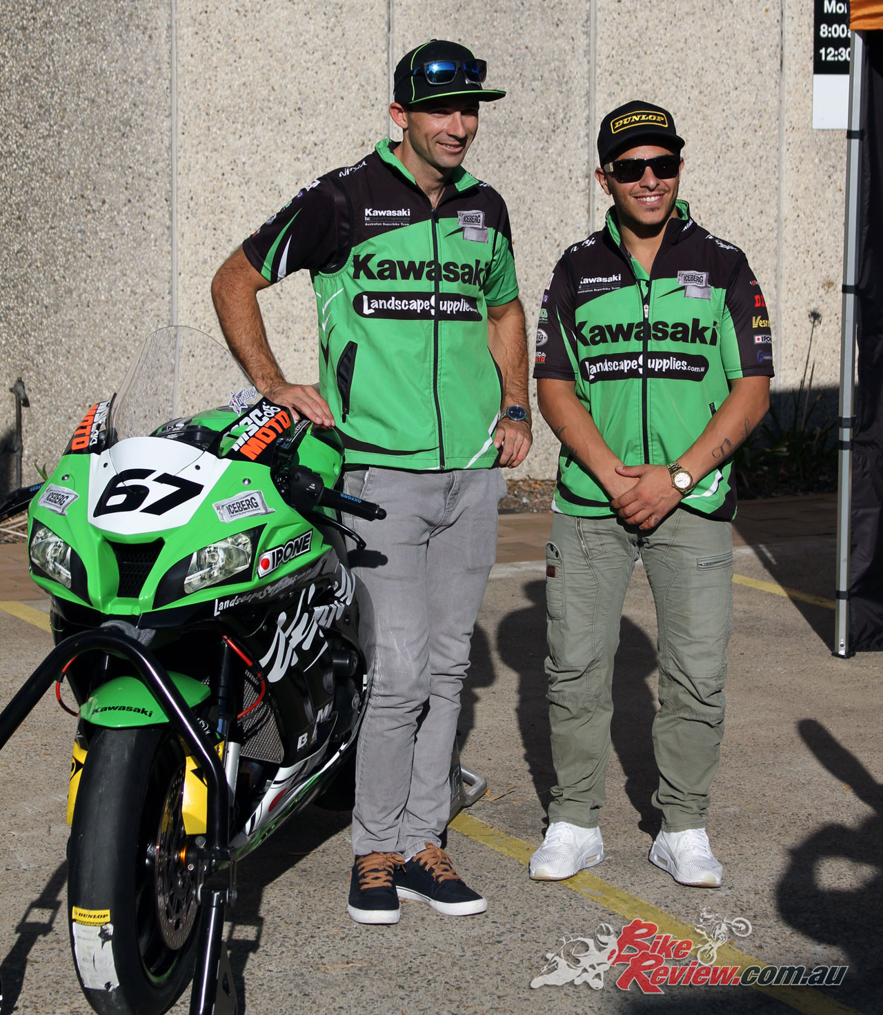 Bryan Staring and Giuseppe Scarcella with Staring's ASBK ZX-10R