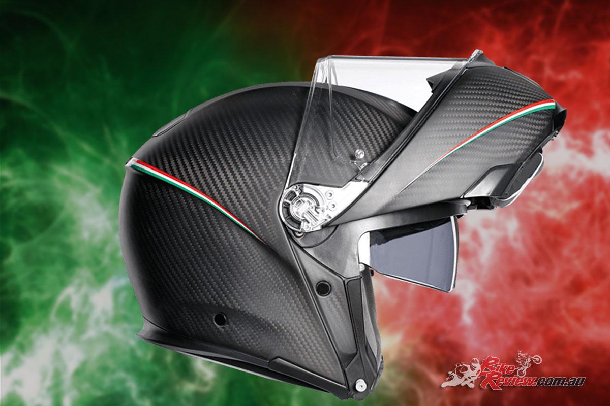 The AGV Sportmodular Helmet - Tricolore Matt Carbon Italy