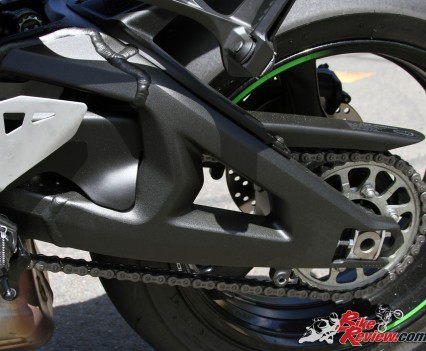 The aluminium swingarm was lengthened for greater traction over the previous unit.