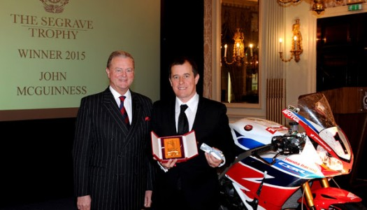 The Royal Automobile Club awards Segrave Trophy to John McGuinness