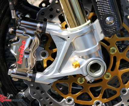 Brembo 6P4RX Nickel plated radial-mount calipers, Brembo pads, 2013 gold ZX-10R rotors.