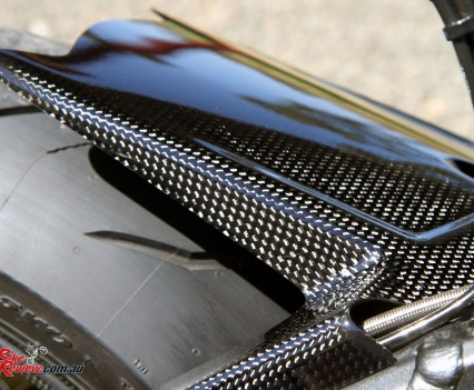 Carbon-fibre rear guard.