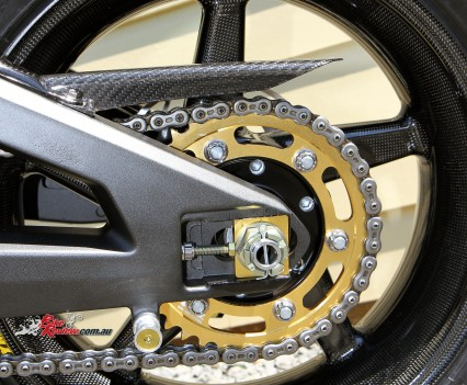 Carbon-fibre guard, all Pro Bolt titanium rear sprocket bolts, Talon alloy rear sprocket.
