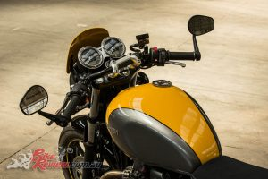 2017 Triumph Street Cup, 'bar end mirrors, low 'bars