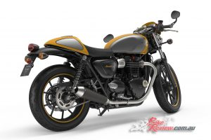 2017 Triumph Street Cup, Racing Yellow and Silver Ice with Jet Black lining