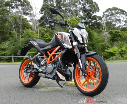 Metzeler M5 tyres, WP forks and Brembo brakes give the 390 Duke a neat chassis package.