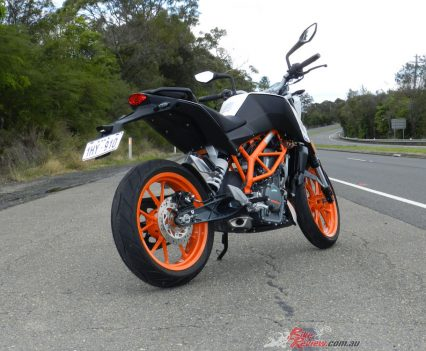 The steel trellis frame and die-cast swingarm are traditional KTM chassis goods that set the KTM apart from other LAMS nakedbikes.