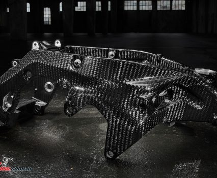 The amazing single-piece carbon-fibre HP4 frame.