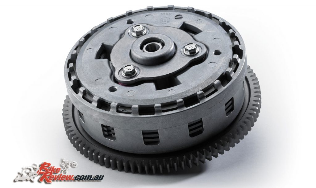 An assist and slipper clutch has also been added and uses two types of cams (an assist cam and a slipper cam).