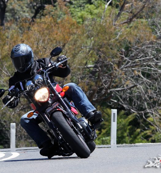 Victory Hammer S, offering good clearance for the class but can still touch down while riding aggressively