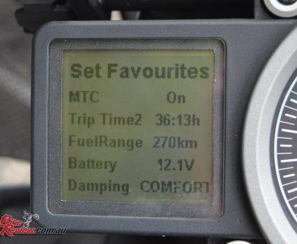 2016 KTM 1290 Super Adventure - dash favourites menu