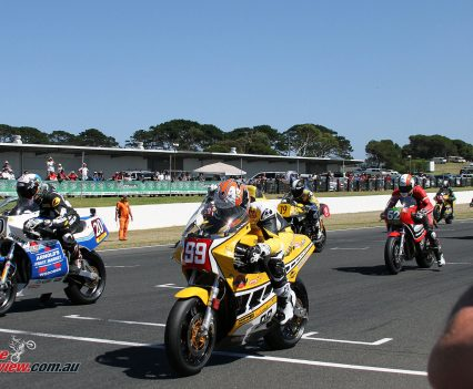 Jeremy McWilliams leading off the start in Race 3 of the International Challenge on Sunday.
