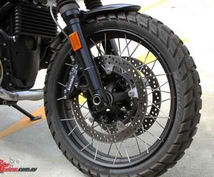 2017 BMW R nineT Scrambler - Black anodised wire-spoke wheels, Brembo four-piston brakes