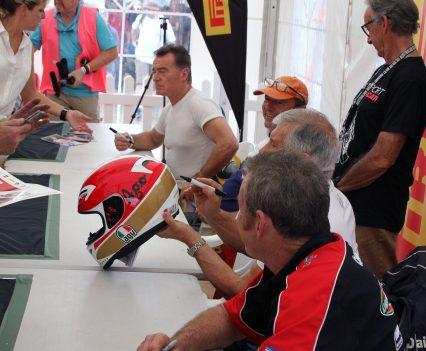 2017 International Festival of Speed - Agostini signing a helmet