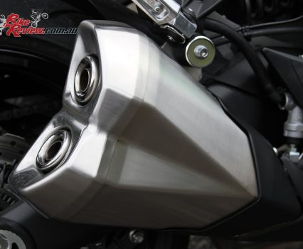 2017 Kawasaki Ninja 1000 - Standard exhausts look OK, but there's definitely weight to be saved and exhaust note to be found by replacing them