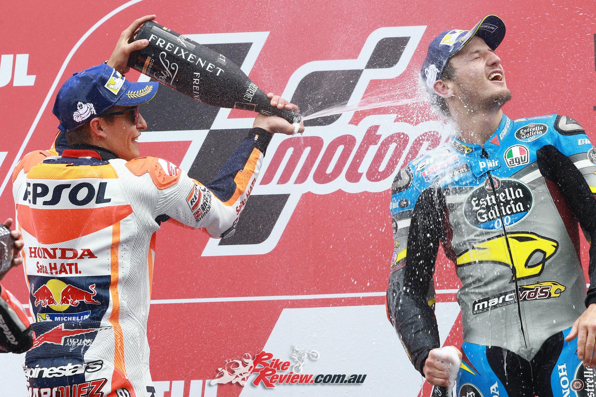 Miller celebrates his podium in Assen with Marc Marquez