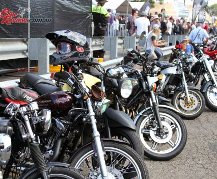 2017 Throttle Roll - Plenty of classic bikes were ridden to the street party with limited parking inside the event