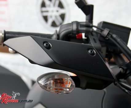 Hand guards incorporate the indicators, helping keep wind off your hands in the cooler weather. We'll be interested to see how they go over winter!