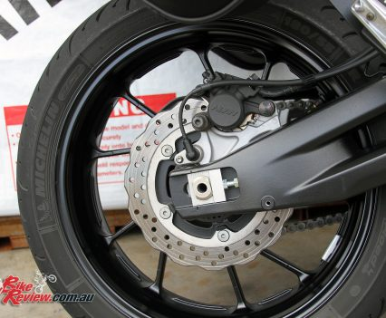 The MT-07 Tracer features Michelin Pilot Road 4 tyres as standard, making for ideal sport touring rubber straight up, and great wet weather performance.