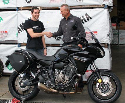Kris picks up BikeReview.com.au's 2017 Yamaha MT-07 Tracer Long Termer from Sean Goldhawk of Yamaha Motor Australia.