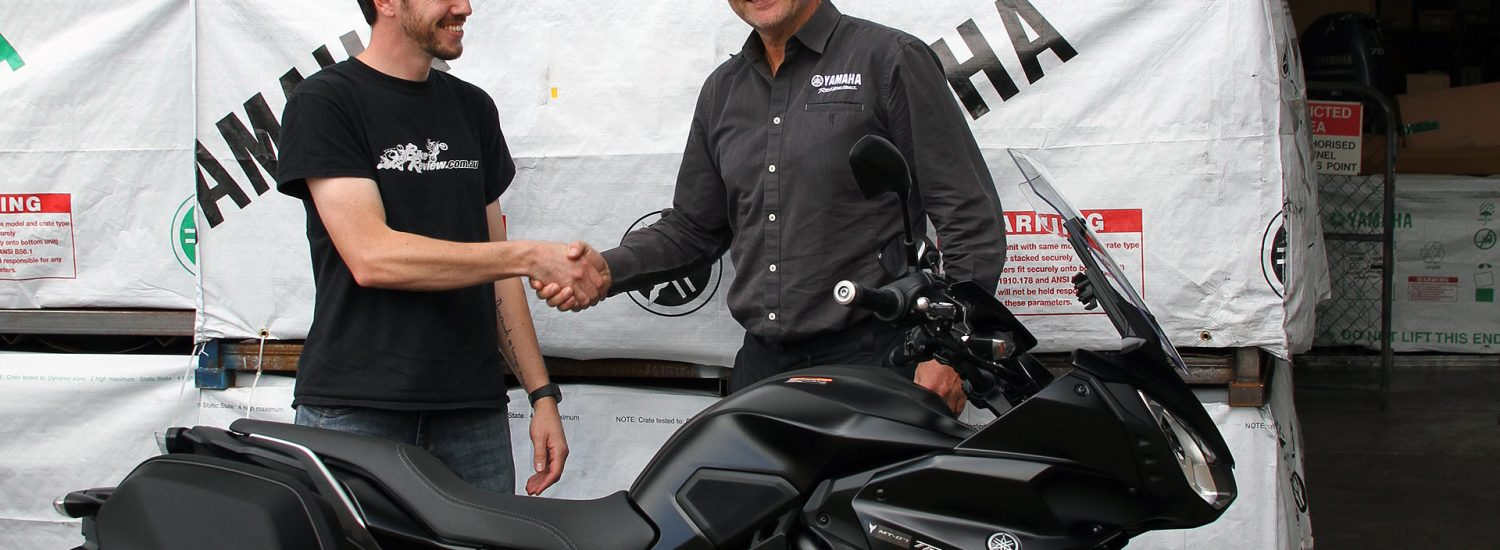 Kris from BikeReview.com.au gets the keys to the 2017 Yamaha MT-07 Tracer Long Termer from Yamaha's Sean Goldhawk
