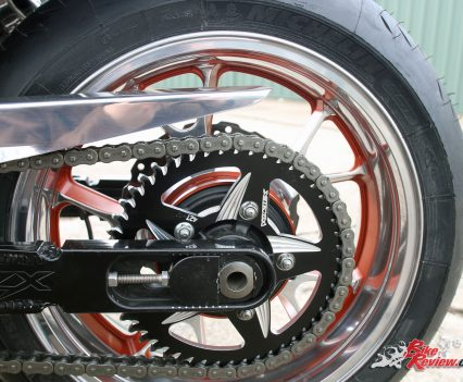 Custom Pro-Tune nine-second Kawasaki ZX-14 - EK Drag chain and Vortex rear sprocket