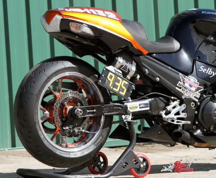Custom Pro-Tune nine-second Kawasaki ZX-14 - The standard shock is retained, with a compressed air canister for the Air Shifter