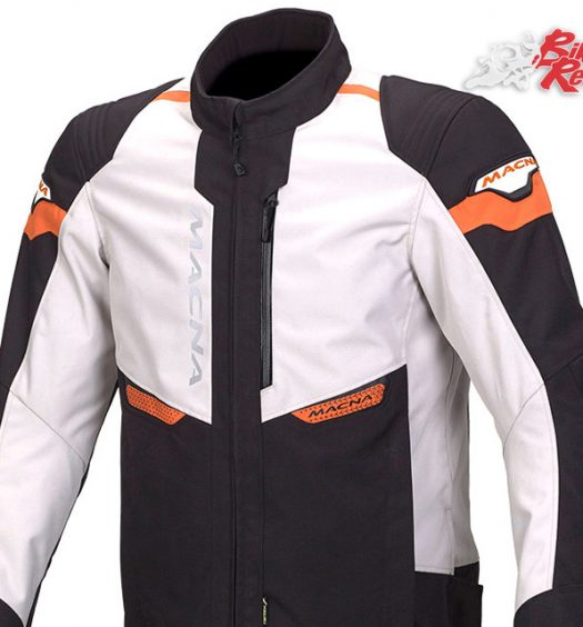 Macna Traction Jacket in Black/Ivory/Orange