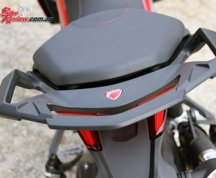 The rear grab rail on the Multistrada 950 offers great grip for a pillion