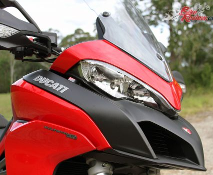 The aggressive avian front end is very Multistrada