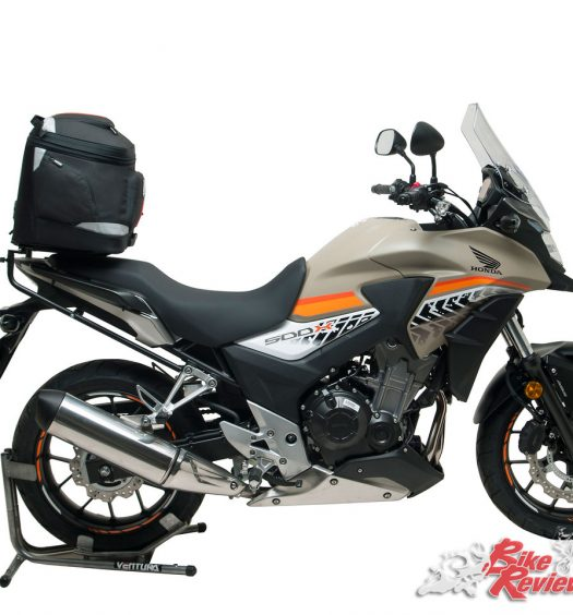 EVO40 Kit on the CB500X with the bag fitted over the pillion seat for weight centralisation