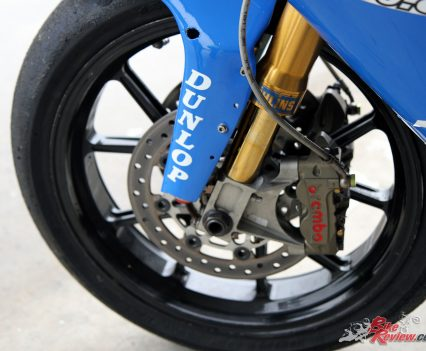 Factory spec Brembo brakes offer incredible performance, when you consider just how light this machine is