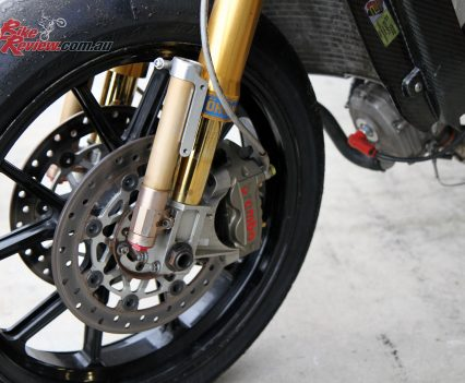 Ohlins forks with external chambers.