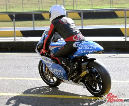 Peter Galvin heading out on track at SMSP on the RSW250.