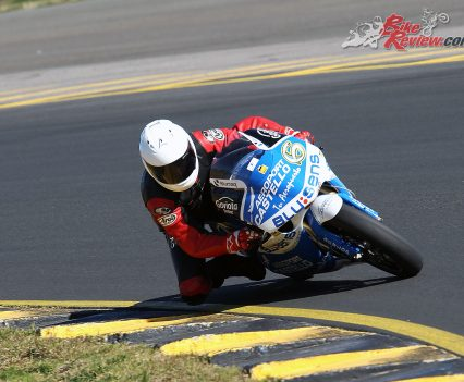 Peter Galvin having a crack on the Aprilia RSW250.