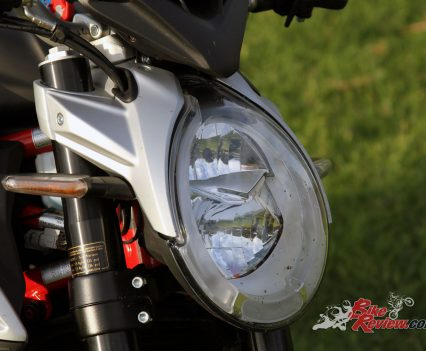 There's not much wind protection being a nakedbike, with that iconic MV Agusta headlight, however the seating position makes wind less noticeable or concerning, even at speed