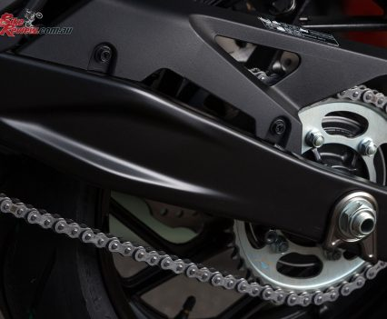 A new sportier swingarm replaces the box-section item
