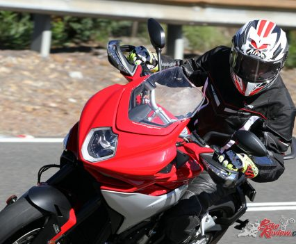 Simon testing out the GP 500 on the MV Agusta Turismo Veloce Lusso
