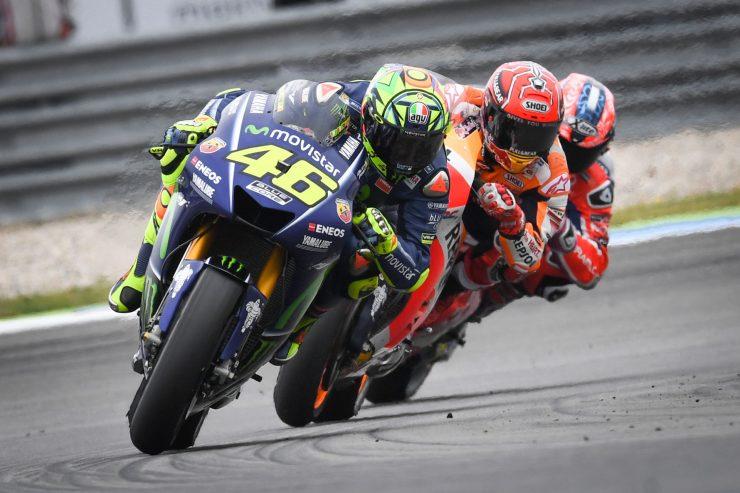 Valentino Rossi leading Marquez and Petrucci
