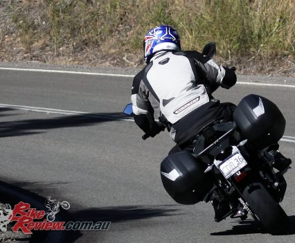 2017 CFMoto 650MT cornering twisties rear shot