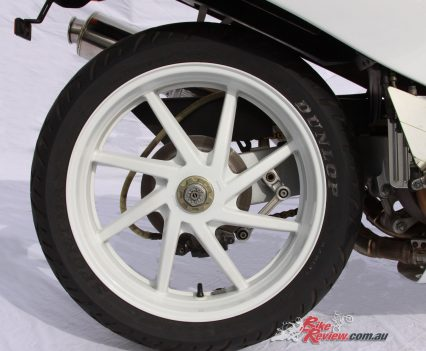 A lightweight single-sided swingarm was particularly exotic