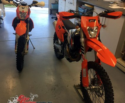The KTM 350 EXC-F with Mark's older 500 EXC-F