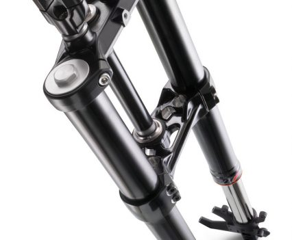 Revised 43mm WP forks are non-adjustable but a significantly up-spec fork to what is being normally offered in the category